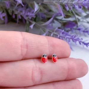 Ladybug stud earrings 925 Sterling Silver
